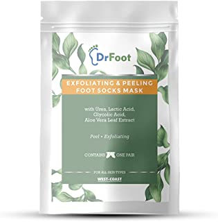 Dr Foot Exfoliating and Peeling Foot Mask Sock with Urea, Lactic & Glycolic Acid and Aloe Vera