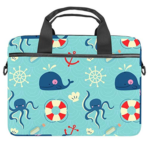 Lightweight 30 inch Laptop Bag ,Business Messenger Briefcases Waterproof Computer Tablet Shoulder Bag Carrying Case Handbag for Men and Women Octopus Whales