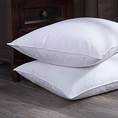 puredown Goose Down and Feather Bed Pillow, White, Jumbo Size, Set of 2