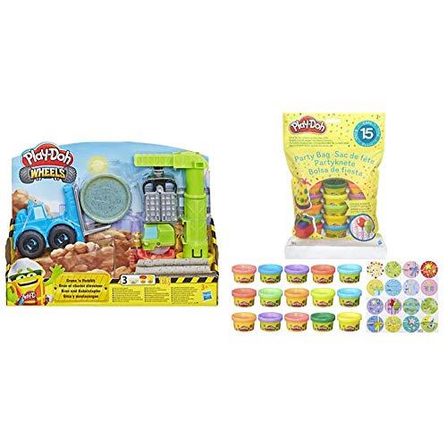 Hasbro Play-Doh E5400EU5 Wheels Giocattoli per Gru e carrelli elevatori con Composto Non tossico Misto da Cemento e 2 Colori aggiuntivi & Play-Doh Bustina di Vaso, Multicolore, 15 Vasetti
