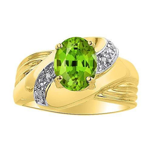 Juego de anillos de diamante y peridoto, chapado en oro amarillo y plata, piedra de color y piedra de nacimiento