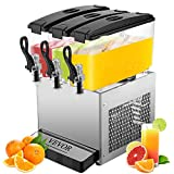 VEVOR Commercial Beverage Dispenser, 36L Fruit Juice Beverage Dispensers Cold and Hot 3 Tanks 12L Per Tank Stainless Steel Ice Tea Drink Dispenser Equipped with Thermostat Controller
