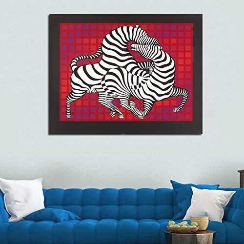 baodanla Pittura a Olio Senza Cornice Art Wall Art Decorative NG Two Zebra Loving Canvas NG per Soggiorno Modern Art Print Poster60x90cm