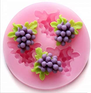 3 Holes 3D Grapes Fruits Shape Silicone Mold for DIY Putting Jelly Cake Candy Fondant Chocolates Accessories Soap Baking Crafting