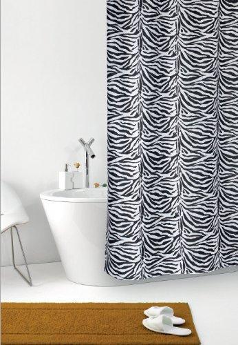 wohnideenshop Duschvorhang Zebra weiß schwarz Zebrastreifen Textil 120cm breit x 200cm lang inkl. Ringe