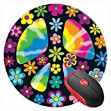 Mouse Pad Hippie Peace Symbol Sign Flower Activist, Round Mousepad, Non-Slip Rubber Base Mouse Mat for Laptop and Computer