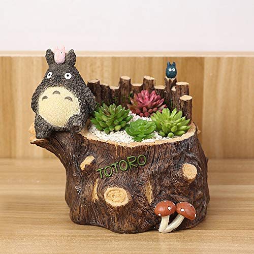 Tritow Résine Créative Pot De Fleurs Plantes Succulentes Planteur Pot Totoro Pot De Fleur Mini Maison Jardin Décoration Bonsaï Pot De Fleurs
