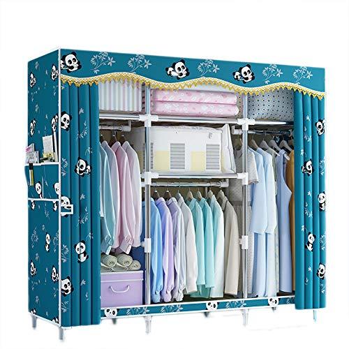FHISAO Tragbare Kleiderschrank, einfache Stoff Kleiderschrank, Kleiderbügel Organizer Schrank Regale Hängende Kleidung Anzeigen Baumwolltuch Kleiderschrank,T,165 * 45 * 170cm