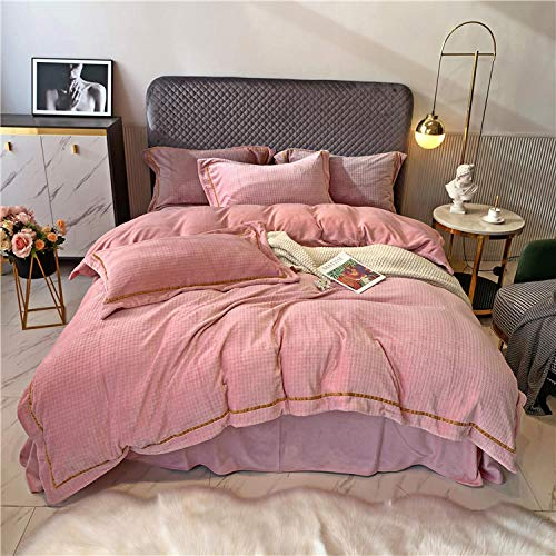 Shinon fleece duvet set super king,Winter flannel double-sided thickening warm anti-static light duvet cover bedding-D_1.8m bed (4 pieces)
