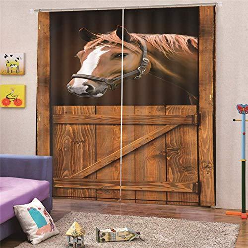 JcurtainC Thermogordijn Opache Horse House Thermogordijn van polyester, voor slaapkamer, ramen en balkon wasbaar