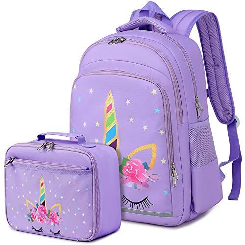 CAMTOP Backpack for Kids Girls School Backpack with Lunch Box Preschool Kindergarten BookBag Set (Purple)