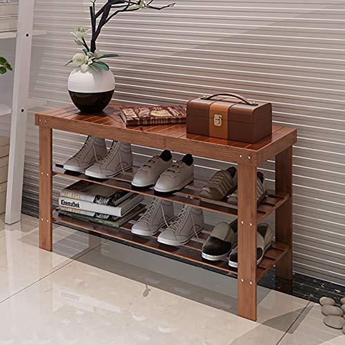 Micaza 2 Tier Bamboe Schoen Organizer Rack, Opslag Schoenbank Gemakkelijk te installeren Walnut Kleur Schoenplank Bed End Kruk Side Table Entryway Voordeur