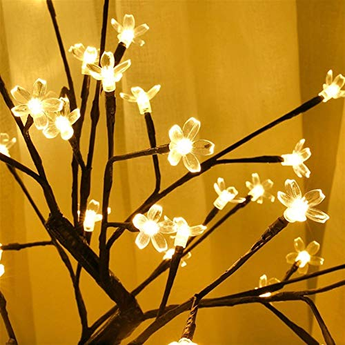 N / A SRMUKhappy LED night light cherry plum tree lamp table lamp home indoor bedroom wedding party bar decoration lamp Copper wire lamp dimmable remote control for Chris (Emitting Color : A)