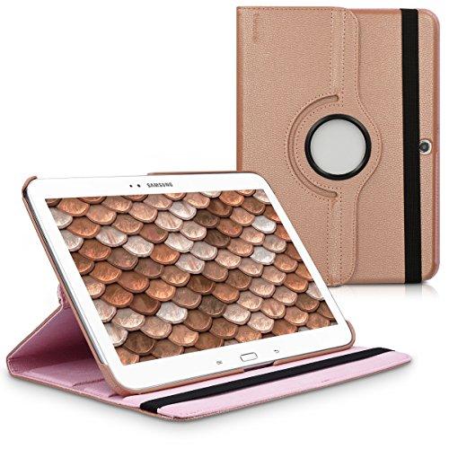 Schutzhülle für Samsung Galaxy Tab 3 10.1 P5200 / P5210-360° Klappetui mit Standfunktion & Gummiband aus Kunstleder in Rosegold