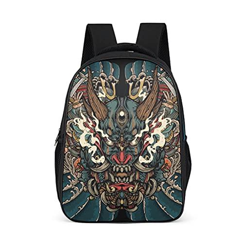 Bairizumeg Mochilas para niñas y niños, diseño japonés Oni guerrero, demonio primario, gris brillante., talla única,