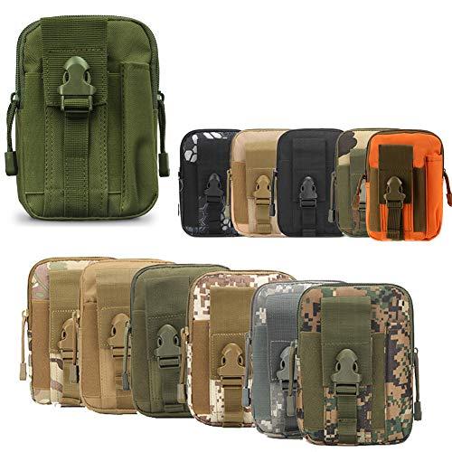 ZhaoCo Bolsa Compacta de Táctico, MOLLE EDC Bolsa de Cintura Riñoneras para Herramientas de Multiusos Teléfono Móvil Senderismo Camping - Ejercito Verde