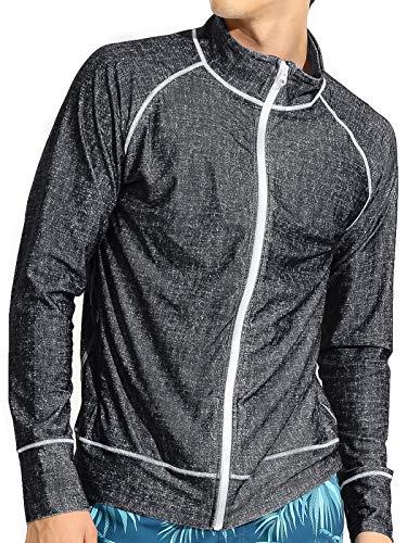 Actleis Herren-Langarm-Rashguard mit Reißverschluss, LSF 50+, UV-Schutz, schnelltrocknend, zum Schwimmen und Laufen, Fischen