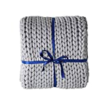 ZonLi Cooling Weighted Blanket 20lbs Queen (60''x80'',,Grey),Chunky Knit Blanket Throw Evenly Weighted No Beads Yarn for Home Décor
