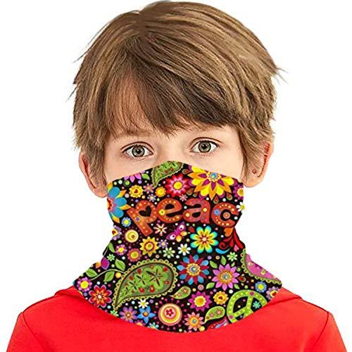 best gift Tapete mit Hippie-Symbol Vielseitige Multifunktions-Kopfbedeckung Halsmanschette Sturmhaube Helmfutter Reitgesichtsabdeckung für Kinder im Freien UV-Schutz