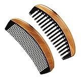 LWBTOSEE Peine de madera de neem y peine de madera de dientes finos, peine de sándalo verde antiestático para mujeres, hombres y niñas, peine para cabello grueso, rizado y ondulado