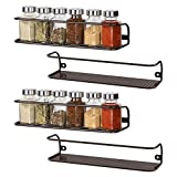 4 Pack Spice Rack for Wall Mount, Seasoning Organizer for Cabinet or Pantry Door, Space Saving Spice Shelf, Spice Storage, Perfect Hanging Racks for Kitchen Cabinet Cupboard Brown