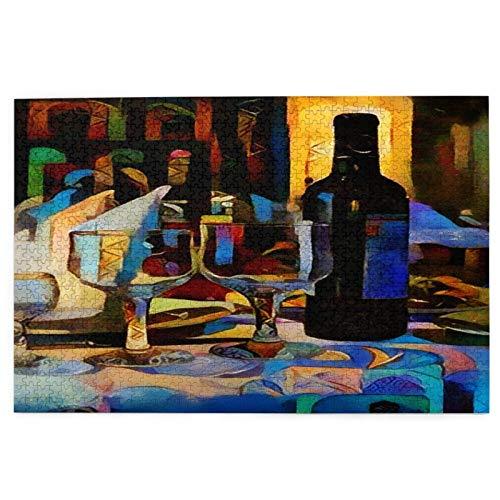 LINARUBE Rompecabezas de 1000 Piezas,Rompecabezas de imágenes,Bodegón con Vasos de Botella de Vino en,Juguetes Puzzle for Adultos niños Interesante Juego Juguete Decoración para El Hogar