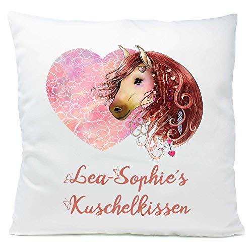 Kissen Pferd braun Herz mit Namen Widmung 40x40 cm inkl. Füllung Kuschelkissen Geschenk, Kissen Farbe:Vorderseite weiß flauschig/RS weiß flauschig