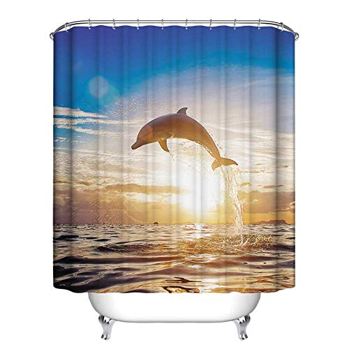 KANGDISON Shellfish Sunset Sandbeach douchegordijn, Ocean Landscape Thema Polyester Stof/Weefsel, waterdicht, schimmelbestendig, douchegordijn met haken, badkamergordijn, oranje, geel bruin 72 x 72 inch / 183 x 183cm