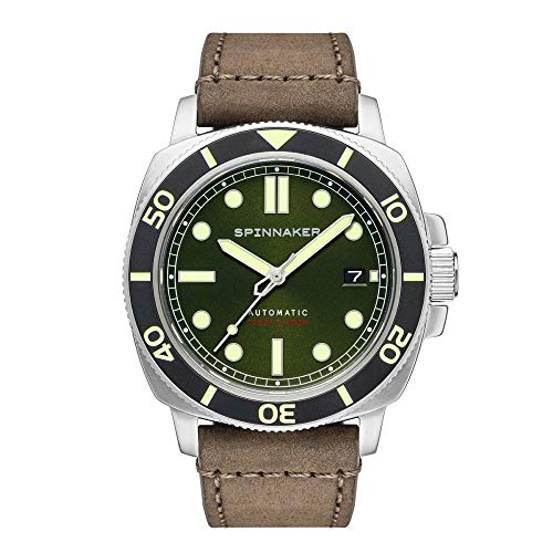 Spinnaker Hull Diver - Orologio automatico a 3 lancette da uomo, con quadrante verde scuro e cinturino in vera pelle marrone scuro, SP-5088-03