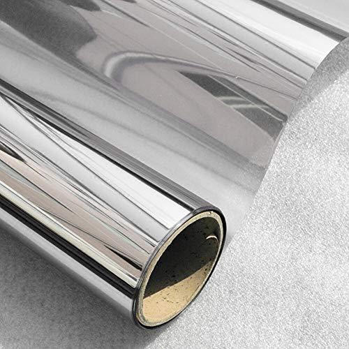 Sticker voor ramen film 40/50/60 cm x 400 cm raamfolie eenzijdig gespiegeld voor reflecterende glazen zonnelaag zilverkleur slaapkamer gebouw decoratief behang