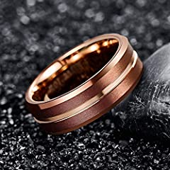 NUNCAD Tungsten Engagement Ring Grooved for Men Women Beveled Edge Comfort Fit Size Z+1 #1