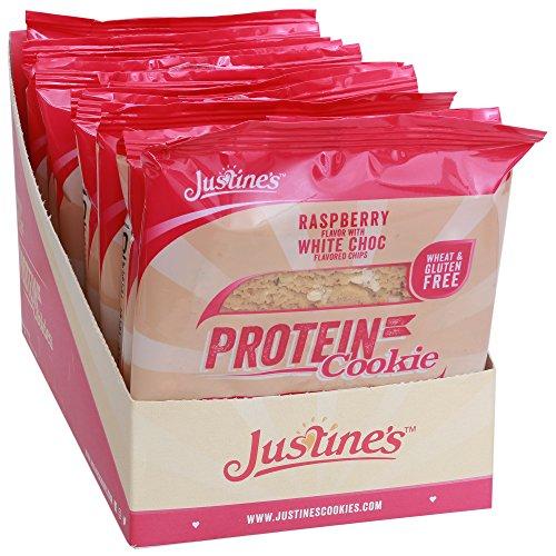 Justine's low carb Himbeer-Cookie mit weißer Schokolade | Kohlenhydratarm 17,4g pro 64g (Portionsgröße) | Proteinreich | Ohne Zuckerzusatz | Glutenfrei| Ohne Weizen | 12 x 64g