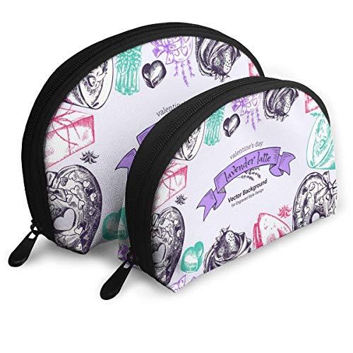 Lavendel Latte Hand gezeichnete Tasse Kaffee Herzform Donuts tragbare Handtasche Kosmetiktasche Reise Aufbewahrungstasche Shell Form Kosmetik Lagerung