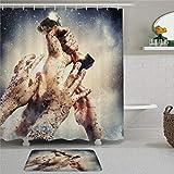 EricauBird Trophy Rain Dirty Hand Holding Gold Trophy Cortina de ducha con anillas de tela de poliéster cortinas de ducha con ganchos para baño Decoración