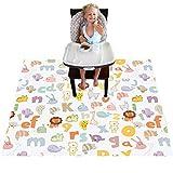Highchair Floor Mat, Baby Splat Mat for Under High Chair/Arts/Crafts, Womumon Waterproof Spill Mat Non-Slip Splash Mat, Washable Mess Mat and Table Cloth (Alphabet)
