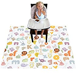 Cute high chair splat mat with animals and alphabet