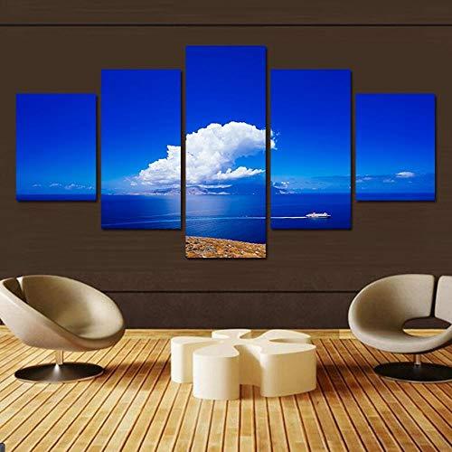 LWJPD Impression sur Toile 5 Panneaux Mur Art Paysage Peinture sur Toile Bleue Peinture Abstraite Image Peinture Décorative Décoration Chambre Et Salon 100 cm