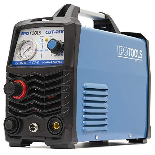 IPOTOOLS Plasmaschneider CUT-45R – Plasmaschneidgerät 45A bis 12 mm Schneidleistung Inverter Schweißgerät Plasma Cutter mit IGBT/HF Zündung/Blau / 230V - 5