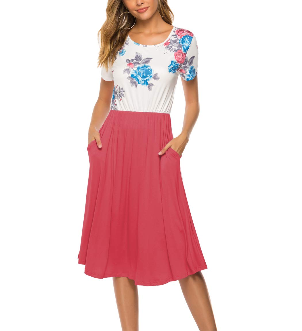 Available at Amazon: Hount Women's Casual Short Sleeve Floral Swing Midi Dress with Pockets