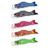 5 Stück Karpfenfahne, Flagge in Karpfenform, Windsack, bunt, Fisch-Design im japanischen Stil, Windfahne, Heim-/Party-Dekoration, 5 x 55 cm