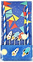 Lolipapa Cute Spaceship Cake Bunting Banner Topper Kit for Kids Birthday Party, Baby Shower, Cake Decoration