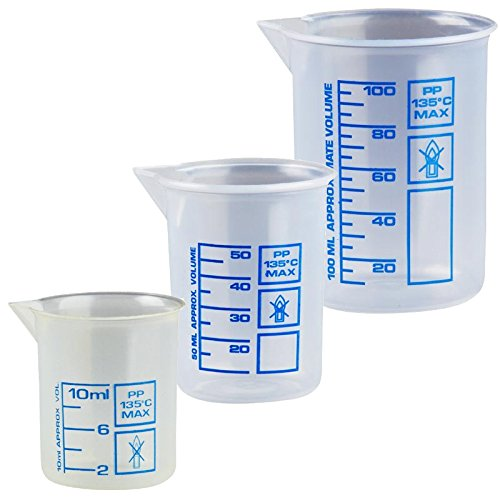 Drei Messbecher a 10, 50 und 100 ml, natur kleine Dosier-Becher, transparent Kosmetex Griffinbecher, Set klein