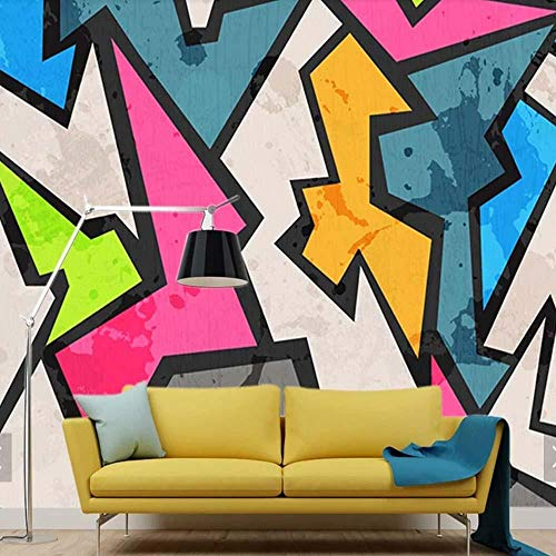 3D vliesbehang fotobehang abstract abstract geometrie graffiti-fotobehang grote muurschildering behang wanddecoratie woonkamer slaapkamer papier 400*280 400 x 280 cm.