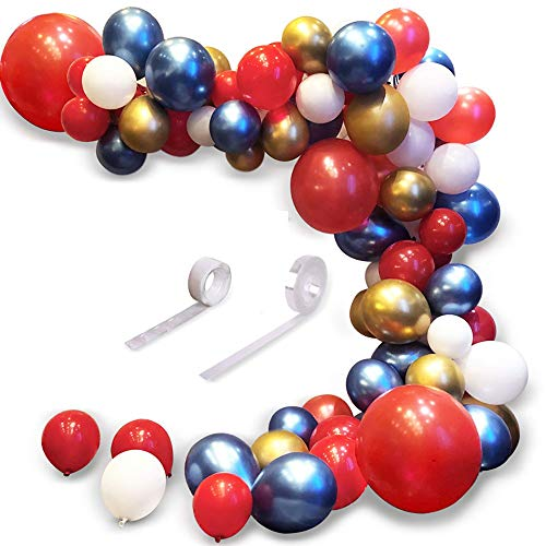 Rancheng 83pcs Ballon Garland Red Gold Blue Balloons Arch Kit Decoration Balloons for Parties, Party Wedding Birthday