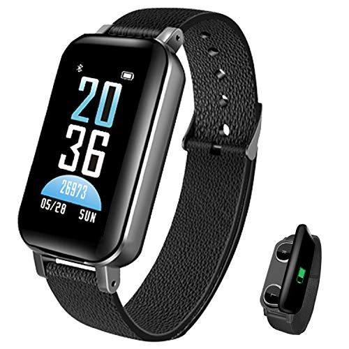 Newest Smart Bracelet Bluetooth Earbuds 2 in 1 Smart Watch Heart Rate Fitness Tracker Blood Pressure Watch Wristband iOS Android (Black)