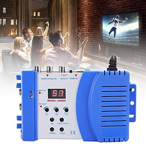 【𝐑𝐞𝐠𝐚𝐥𝐨】 Convertidor AV a RF de Inicio ultrarrápido, modulador HDMI 5.1 decodificador de Audio RF, Caja de Acero Ajustable de 80~95DBUV 47~868 MHz para Enchufe EU DTS / AC3