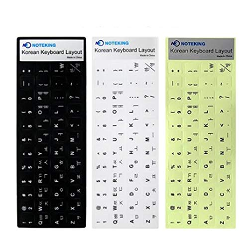 NOTEKING Korean/English 3EA Keyboard Stickers, Black White Fluorescent Letters for Laptop, MacBook Air/Pro, Desktop PC Computer Keyboard, Best Korean Keyboard Cover, Skin, Product