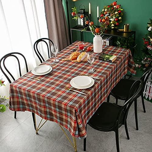 Orgulloso Rosa Año Nuevo Mantel de Navidad Retro Plaid Algodón Lino Tela Nórdica Hogar Rectangular Banquete Fiesta Impresa M 140x220cm