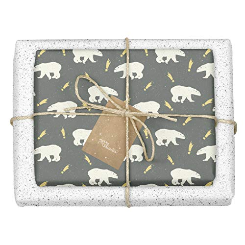 Dabelino - Carta da regalo natalizia/invernale 'orso polare / pois - bianco - nero - 4 fogli + 4 ciondoli set (bambini, adulti, ecologico, ecologico) | Carta da regalo di Natale