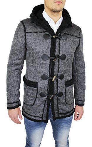 AK collezioni Cappotto Montgomery Uomo Grigio Nero Slim Fit Casual Cardigan con Pelliccia Giacca (XXL)